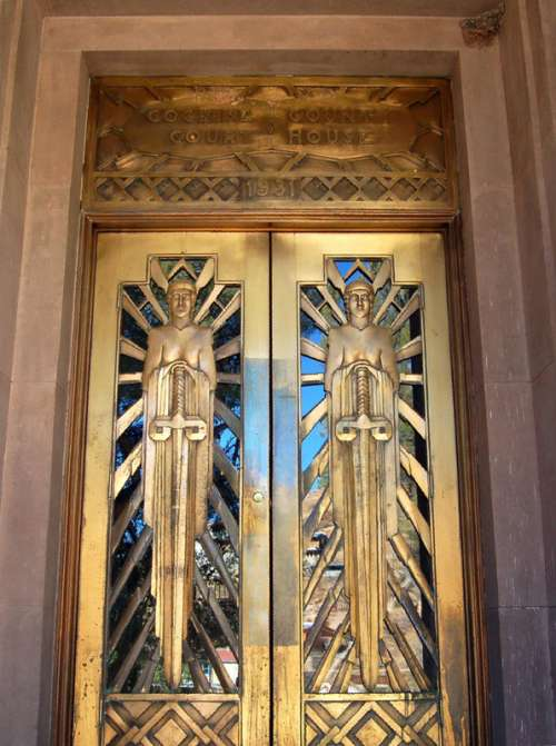 Art Deco doors on the Cochise County Courthouse in Bisbee, Arizona free photo