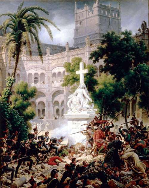 Assault of the French army at Santa Engracia Monastery in Zaragoza, Spain free photo