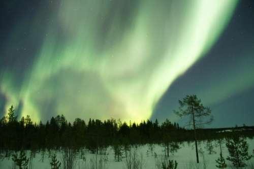 Aurora Borealis above the North Pole, Greenland free photo