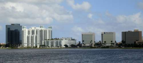 Australian Avenue skyline on Clear Lake at West Palm Beach, Florida free photo
