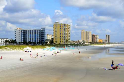 Beach and towers in Jacksonville, Florida free photo