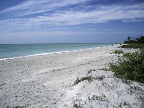 Beach near the western end of Sanibel in Florida free photo