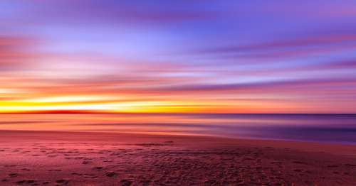Beautiful landscape, sunset, and dusk on the beach at Sydney, New South Wales, Australia free photo