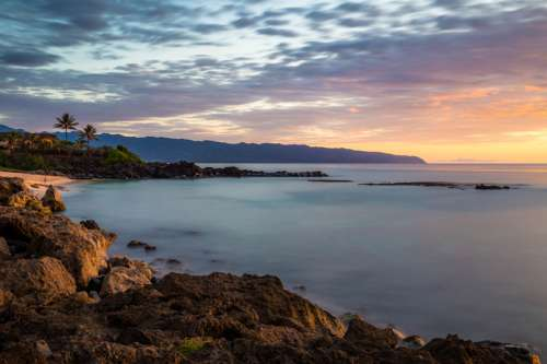 Beautiful sunset and landscape in Haleiwa, Hawaii free photo