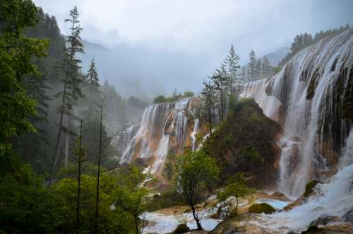 Beautiful Waterfall in Aba, China free photo