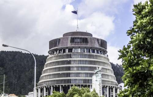 Beehive building in Wellington, New Zealand free photo