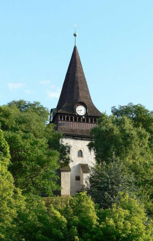 Belfry of the Gothic church in Miskolc, Hungary free photo