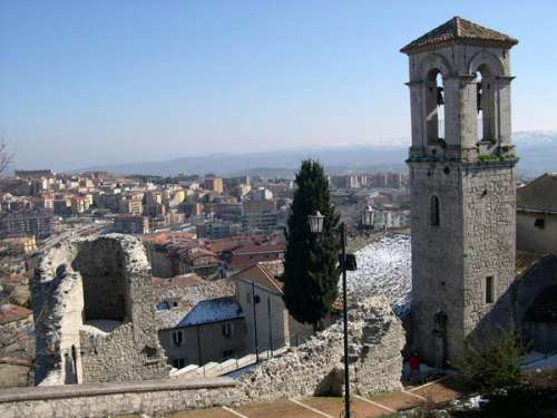 Bell tower of the S. Bartolomeo Church in Campobasso, Italy free photo