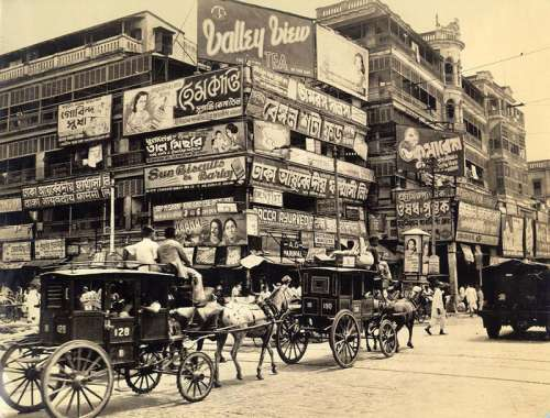 Bengali billboards on Harrison Street in Calcutta, India free photo