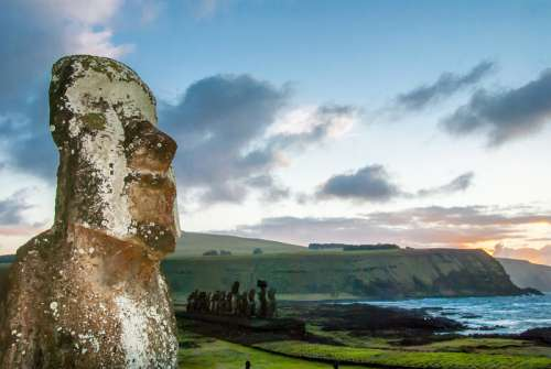 Big Moai Statue and sky plus landscape in Easter Island, Chile free photo