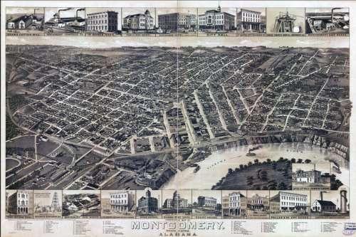 Bird's Eye View of Montgomery in 1887, Alabama free photo