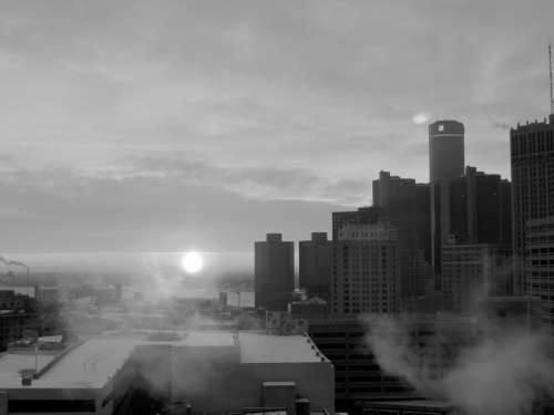 Black and White Cityscape and buildings in Detroit, Michigan free photo