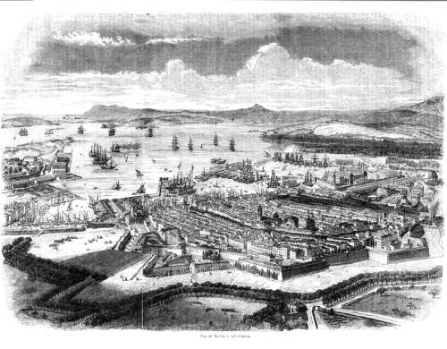 Black and White Drawing of Toulon in 1850 in France free photo