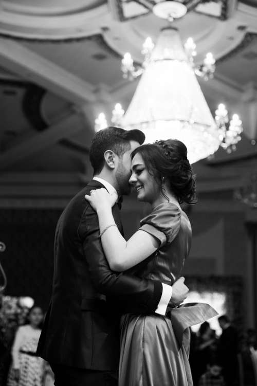 Black and White photo of couple at a ball on valentine's day free photo