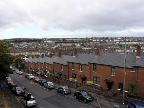 Bogside area viewed from the walls in Derry, Ireland free photo