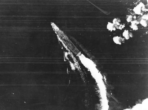 Bomber View of Japanese Carrier Hiryu at Midway, World War II free photo