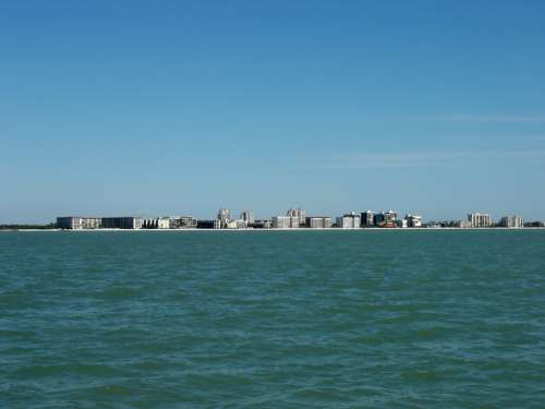 Bonita Beach, as seen from the Gulf of Mexico and Skyline in Florida free photo