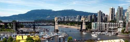 Bridge and buildings in Vancouver, British Columbia, Canada free photo