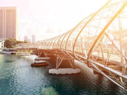 Bridge architecture in Singapore under the sunlight free photo