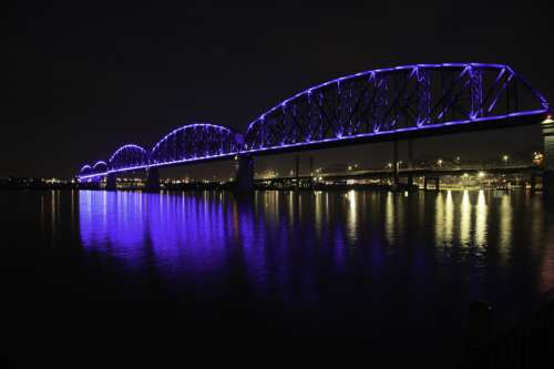 Bridge over the Water at night in Louisville, Kentucky free photo