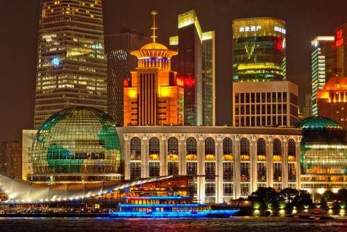 Bright Night Cityscape in Shanghai, China free photo