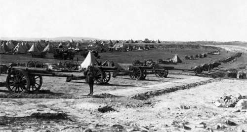 British artillery battery on Mount Scopus in the Battle of Jerusalem during World War I free photo
