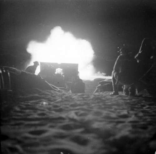 British Night Artillery Barrage at the 2nd battle of El Alamein in World War II free photo