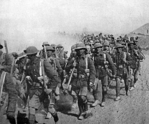 British troops on the march during Mesopotamian campaign World War I free photo