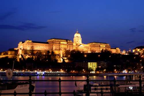 Budapest Castle at Night in Hungary free photo