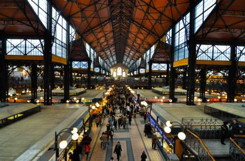 Budapest great market hall in Budapest, Hungary free photo