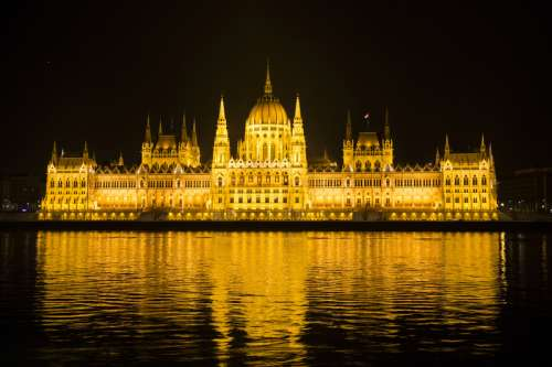 Budapest lighted up at night in Hungary free photo