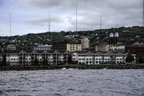 Buildings on the shoreline of Duluth, Minnesota free photo