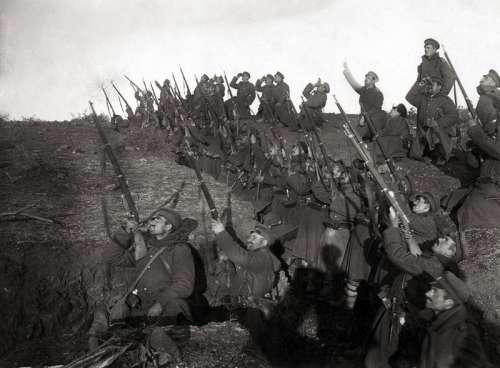 Bulgarian soldiers in a trench during World War I free photo