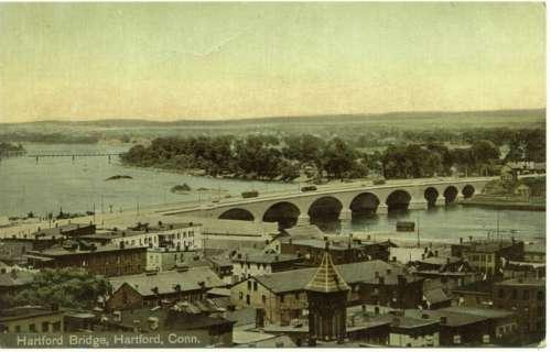 Bulkeley Bridge landscape in 1914 in Hartford, Connecticut free photo