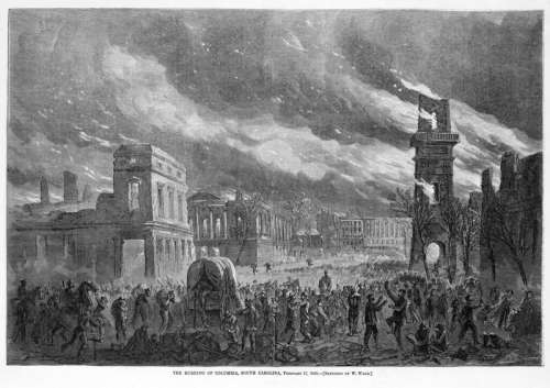 Burning of the State House during Civil War, Columbia, South Carolina free photo