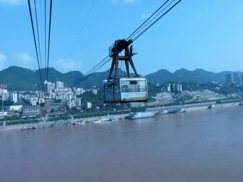 Cable Railway over Yangtse River in Chongqing, China free photo