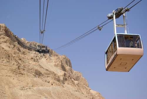 Cableway at Masada in Israel free photo