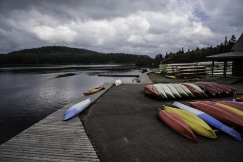 Canoes by the lakeshore at Algonquin Provincial Park, Ontario free photo