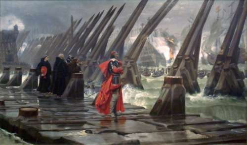Cardinal Richelieu at the Siege of La Rochelle, France in 1881 free photo