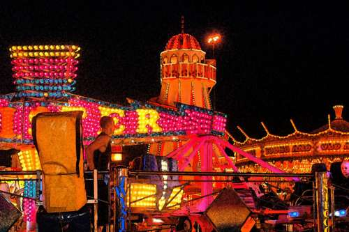 Carousel and carnival lights in Nottingham, England free photo