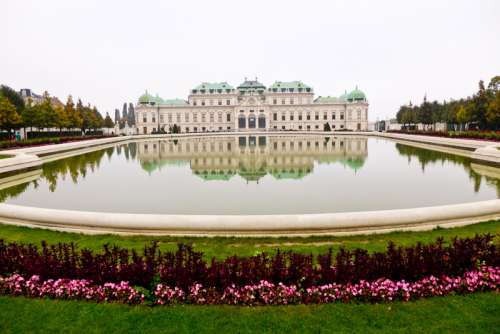 Castle Architecture and pool and Vienna, Austria free photo