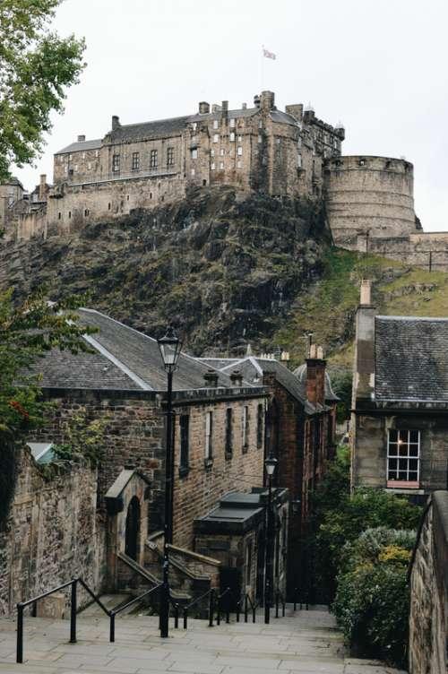 Edinburgh Castle on a Hill free photo