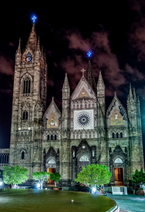 Cathedral of Guadalajera at Night in Mexico free photo
