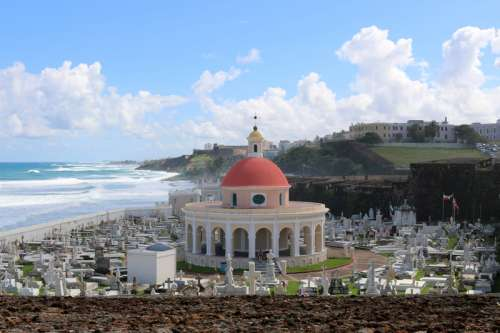 Cemetery by the ocean landscape in San Juan, Puerto Rico free photo