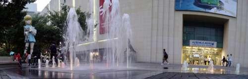 Cheonan Bus Terminal with fountains in South Korea free photo