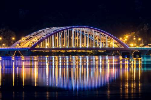 Chuncheon Bridge lighted up at night in Seoul, South Korea free photo