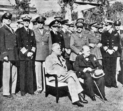 Churchill and Roosevelt at the Casablanca Conference during World War II free photo
