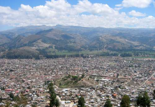 Cityscape and Mountains in Cajamarca, Peru free photo