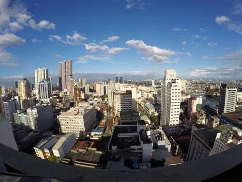 Cityscape of Manila, Philippines from a balcony free photo