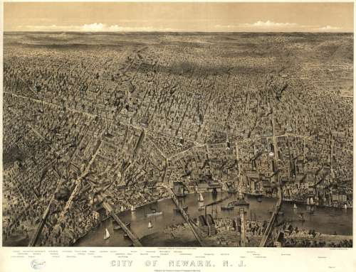 Cityscape of Newark, New Jersey in 1874 free photo